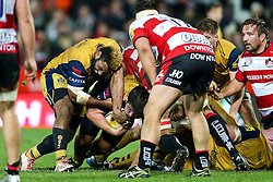 Jamal Ford-Robinson and Marc Jones of Bristol Rugby in action - Rogan Thomson/JMP - 03/12/2016 - RUGBY UNION - Kingsholm Stadium - Gloucester, England - Gloucester Rugby v Bristol Rugby - Aviva Premiership.