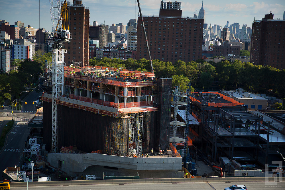 Construction on One Manhattan Square rising along the East River on the lower east side of Manhattan.