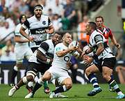 Twickenham, Surrey, United Kingdom.  Danny CARE, runs into trouble, during the, Old Mutual Wealth Cup, England vs Barbarian's match, played at the  RFU. Twickenham Stadium, on Sunday   28/05/2017England    <br /> <br /> [Mandatory Credit Peter SPURRIER/Intersport Images]