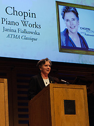 Janina Fialkowska thanks the public after receiving the Instrumental award at BBC Music Magazine Awards 2013 at Kings Place .Janina Fialkowska (piano) Chipin: Polonaise in E flat; Preludes, Mazurkas, Ballade No.2 (ATMA Classique), London, UK, April 9, 2013. Photo by Daniel Leal-Olivas / i-Images.