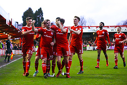 Billy Kee of Accrington Stanley celebrates with teammates after scoring a goal to make it 1-0- Mandatory by-line: Robbie Stephenson/JMP - 17/04/2018 - FOOTBALL - Wham Stadium - Accrington, England - Accrington Stanley v Yeovil Town - Sky Bet League Two