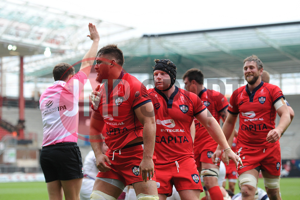Bristol Flanker Jack Lam celebrates the first try of the game for Bristol Rugby to make it 8-10 - Photo mandatory by-line: Dougie Allward/JMP - Mobile: 07966 386802 - 02/05/2015 - SPORT - Rugby - Bristol - Ashton Gate - Bristol Rugby v Rotherham Titans - Greene King IPA Championship