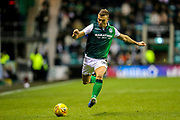 Ryan Porteous (#36) of Hibernian prepares to clear the ball during the Ladbrokes Scottish Premiership match between Hibernian and Rangers at Easter Road, Edinburgh, Scotland on 19 December 2018.