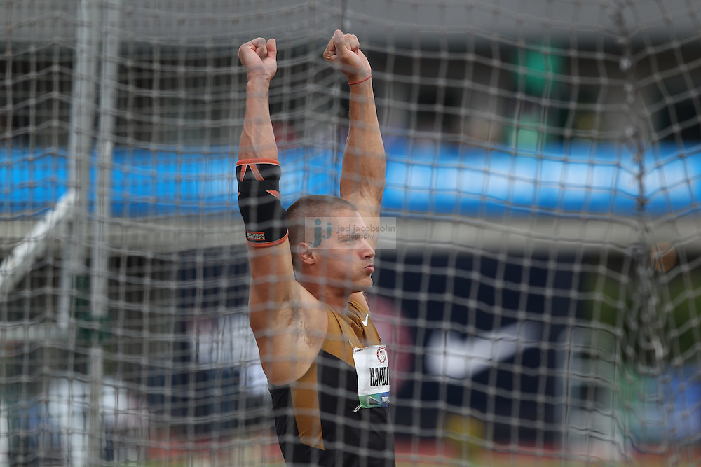 Trey Hardee celebrates after a discus throw for the Decathlon during day 2 of the U.S. Olympic Trials for Track & Field at Hayward Field in Eugene, Oregon, USA 23 Jun 2012..(Jed Jacobsohn/for The New York Times)....