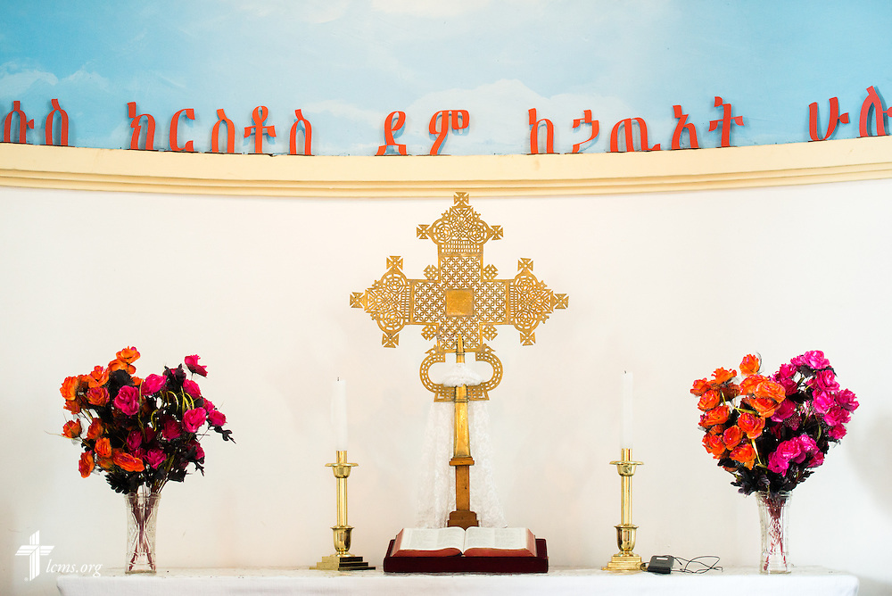 The altar of the EECMY Mother Church in Addis Ababa, Ethiopia, on Sunday, Nov. 9, 2014. LCMS Communications/Erik M. Lunsford