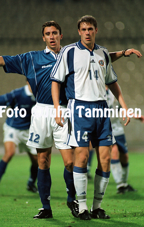 07.10.2000, Olympic Stadium, Athens, Greece. FIFA World Cup Qualifying match, Greece v Finland. Antzas Paraskevas (GRE) v Mika Kottila (FIN)..©JUHA TAMMINEN