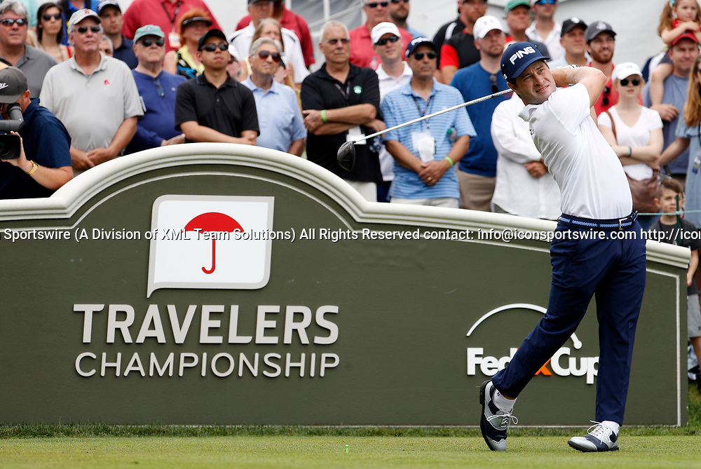 CROMWELL, CT - JUNE 24: David Lingmerth of Sweden drives from the 1st tee during the third round of the Travelers Championship on June 24, 2017, at TPC River Highlands in Cromwell, Connecticut. (Photo by Fred Kfoury III/Icon Sportswire)