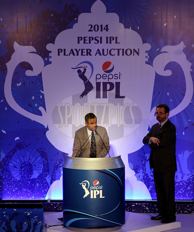 during the Pepsi IPL Player Auction held at the ITC Gardenia in Bengaluru, India on the 13th February 2014<br /> <br /> Photo by Sandeep Shetty/BCCI/SPORTZPICS