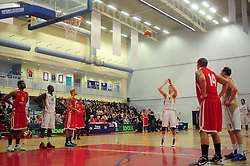 Essex Leopards' Tom Martin takes a free shot - Photo mandatory by-line: Dougie Allward/JMP - Tel: Mobile: 07966 386802 23/03/2013 - SPORT - Basketball - WISE Basketball Arena - SGS College - Bristol -  Bristol Academy Flyers V Essex Leopards