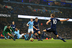 16th December 2017 - Premier League - Manchester City v Tottenham Hotspur - Harry Winks of Spurs can't pass to teammate Harry Kane in time - Photo: Simon Stacpoole / Offside.