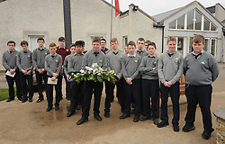 Junior Pupils at Rice College Westport lead by Naoise Kennedy laid a wreath at the remembrance garden marking 150 years since the foundation of the Christian Brothers in Westport.<br /> Pic Conor McKeown