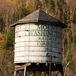 Water tower at the Mount Washington Cog railway in Twin Mountain, New Hampshire.  White Mountains.
