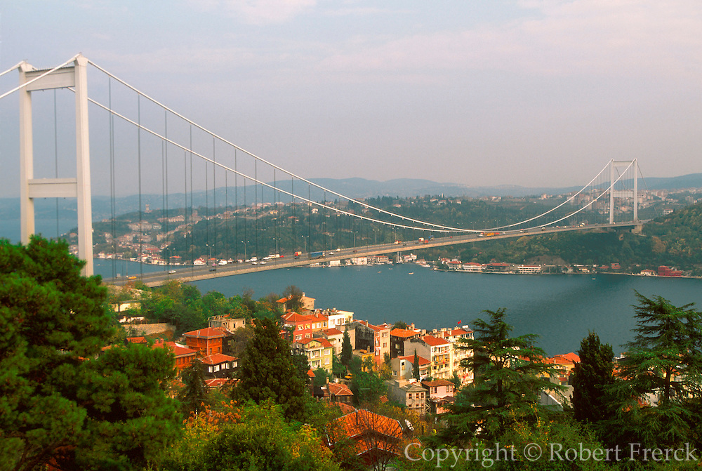 TURKEY, BOSPHORUS Fatih Bridge built in early 1980's