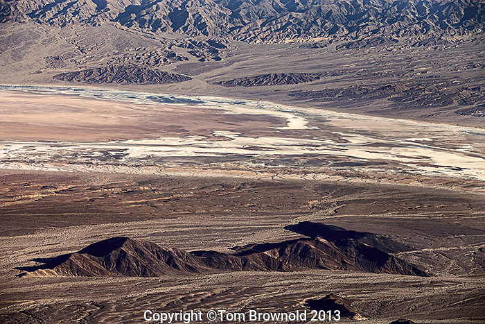 Views from Augereberry Point of the Badwater basin, the Funeral Mountains, Backwater wash, Furnace creek, Salt Creek, Death Valley.