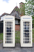 12 May 2009: Cream KC telephone boxes outside West Park, Hull..Picture:Sean Spencer/Hull News & Pictures 01482 210267/07976 433960.High resolution picture library at http://www.hullnews.co.uk.©Sean Spencer/Hull News & Pictures Ltd.