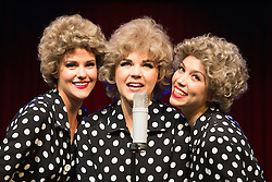 """© Licensed to London News Pictures. 01/09/2015. London, UK. L-R: Megan Makin, Alison Arnopp, Amanda Digon as The Lana Sisters. Photocall for the new British musical """"DUSTY"""", a world premiere. DUSTY, is about the rise to fame of 1960s superstar Dusty Springfield. The show is currently previewing in the West End at Charing Cross Theatre. Alison Arnopp stars as Dusty Springfield/Mary O'Brien. Photo credit : Bettina Strenske/LNP"""