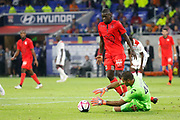 Benitez Walter of Nice and Sarr Malang of Nice during the French championship L1 football match between Olympique Lyonnais and Amiens on August 12th, 2018 at Groupama stadium in Decines Charpieu near Lyon, France - Photo Romain Biard / Isports / ProSportsImages / DPPI