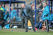 Billy Heath (Manager) (Halifax) shouts orders across to his players in extra time during the Vanarama National League North match between FC Halifax Town and Salford City at the Shay, Halifax, United Kingdom on 7 May 2017. Photo by Mark P Doherty.