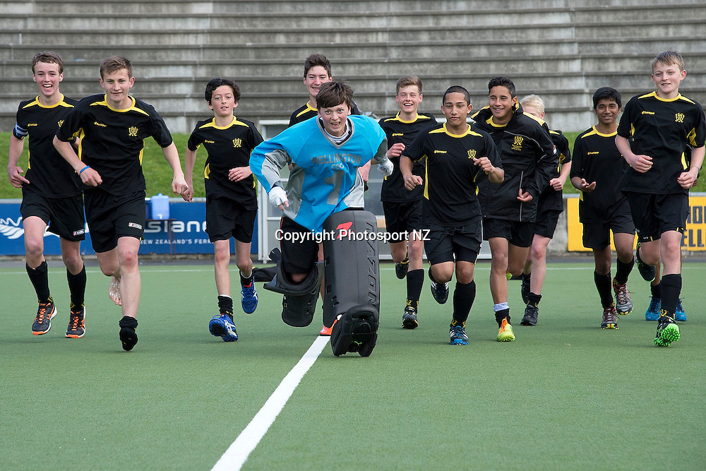 Wellington A celebrate their win during the U15 Premier Boys Hockey Final match between Wellington A and North Habour at the National Hockey Stadium in Wellington on Saturday the 4th of October 2014.  Photo by Marty Melville/www.Photosport.co.nz