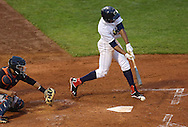 Kernels Center Fielder Byron Buxton (7) hits a ground ball during a game between the Cedar Rapids Kernels and the Quad Cities River Bandits at Veterans Memorial Stadium in Cedar Rapids, Iowa on June 5, 2013.