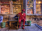 "Clarksdale bluesman, Josh ""Razorblade"" Stewart at Ground Zero blues club in Clarksdale, Mississippi."