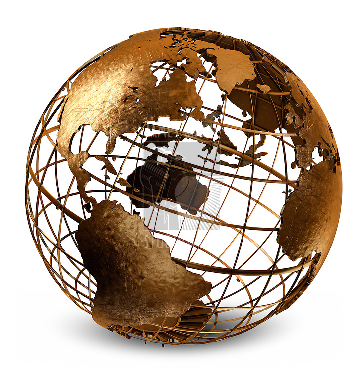 3D art showing a caged brass metalic structure of the earth on white.