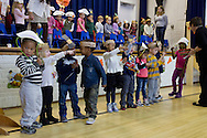 "Middletown, New York - Preschool and pre-K students line up during the ""YMCA Thanksgiving Day Spectacular"" in the gymnasium at the Center for Youth Programs on Nov. 27, 2013."