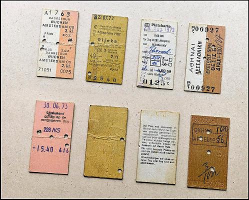 Nederland, 5-11-2014Verschillende katonnentreinkaartjes en kaartjes voor zitplaatsreservering uit begin jaren zeventig.Te zien zijn een retour Amsterdam -  Wijchen, een enkeltje Munchen - Rijeka in Joegoslavie, en twee kaartje voor de trein in Griekenland.FOTO: FLIP FRANSSEN/ HOLLANDSE HOOGTE