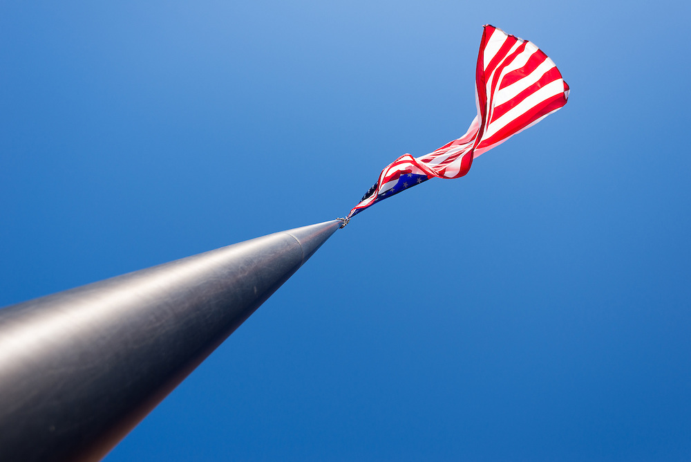 American flag blowing in a breeze, Walla Walla, Washington.