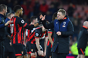 AFC Bournemouth manager Eddie Howe celebrates the 4-0 win over Chelsea with Joshua King (17) of AFC Bournemouth at full time during the Premier League match between Bournemouth and Chelsea at the Vitality Stadium, Bournemouth, England on 30 January 2019.