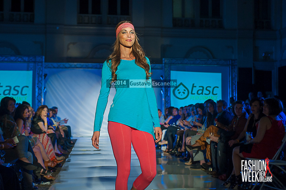 FASHION WEEK NEW ORLEANS: Tasc Performance show case there design on the runway at the Board of Trade, Fashion Week New Orleans on Wednesday March 19. 2014. #FWNOLA, #FashionWeekNOLA, #Design #FashionWeekNewOrleans, #NOLA, #Fashion #BoardofTrade, #GustavoEscanelle, #TraceeDundas , #romeyRoe, #DominiqueWhite . View more photos at <br /> http://Gustavo.photoshelter.com.