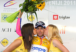 Overall winner Ulissi Diego (ITA) of Lampre at flower ceremony after the 4th Stage  between Ptuj and Novo mesto (181 km) at 18th Tour de Slovenie 2011, on June 19, 2011, in Novo mesto, Slovenia. (Photo by Vid Ponikvar / Sportida)
