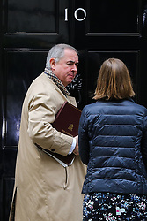 © Licensed to London News Pictures. 16/10/2019. London, UK. Attorney General GEOFFREY COX arrives in Downing Street to attend the weekly cabinet meeting. This week's cabinet meeting was postponed by one day on Tuesday 15 October amid a final push for a Brexit agreement that can be sealed in time for the European Council summit in Brussels on Thursday and Friday. Photo credit: Dinendra Haria/LNP