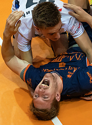 12-05-2019 NED: Abiant Lycurgus - Achterhoek Orion, Groningen<br /> Final Round 5 of 5 Eredivisie volleyball, Orion wins Dutch title after thriller against Lycurgus 3-2 / Last ball of the match Joris Marcelis #4 of Orion scores 3-2. Rob Jorna #10 of Orion