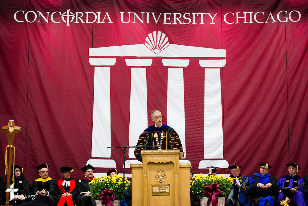 The Rev. Dr. Daniel Lee Gard, president of Concordia University Chicago, gives the inaugural address during his inauguration convocation at the college in River Forest, Ill., on Friday, Oct. 10, 2014. LCMS Communications/Erik M. Lunsford