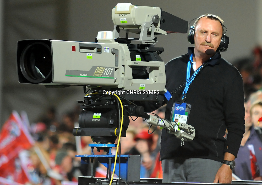 SKY TV camera operator during the Super Rugby game Crusaders v Cheetahs. Christchurch New Stadium, Christchurch, New Zealand. Saturday 24 March 2012. Photo: Chris Symes/www.photosport.co.nz