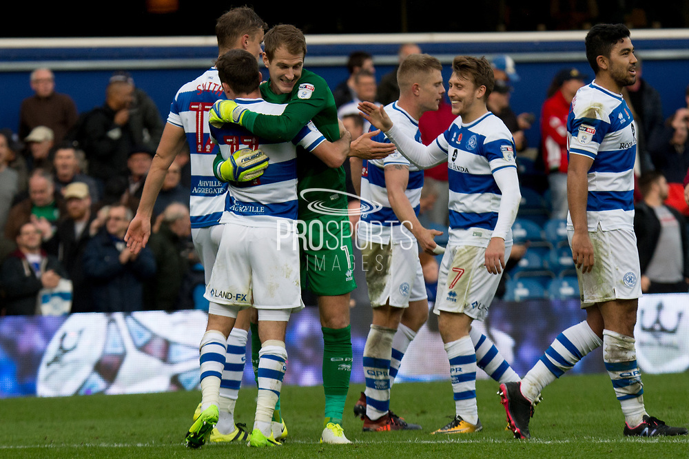 Celebrating QPR win at Loftus Road - EFL Sky Bet Championship match between Queens Park Rangers and Wolverhampton Wanderers at the Loftus Road Stadium, London, England on 28 October 2017. Photo by Robin Pope.