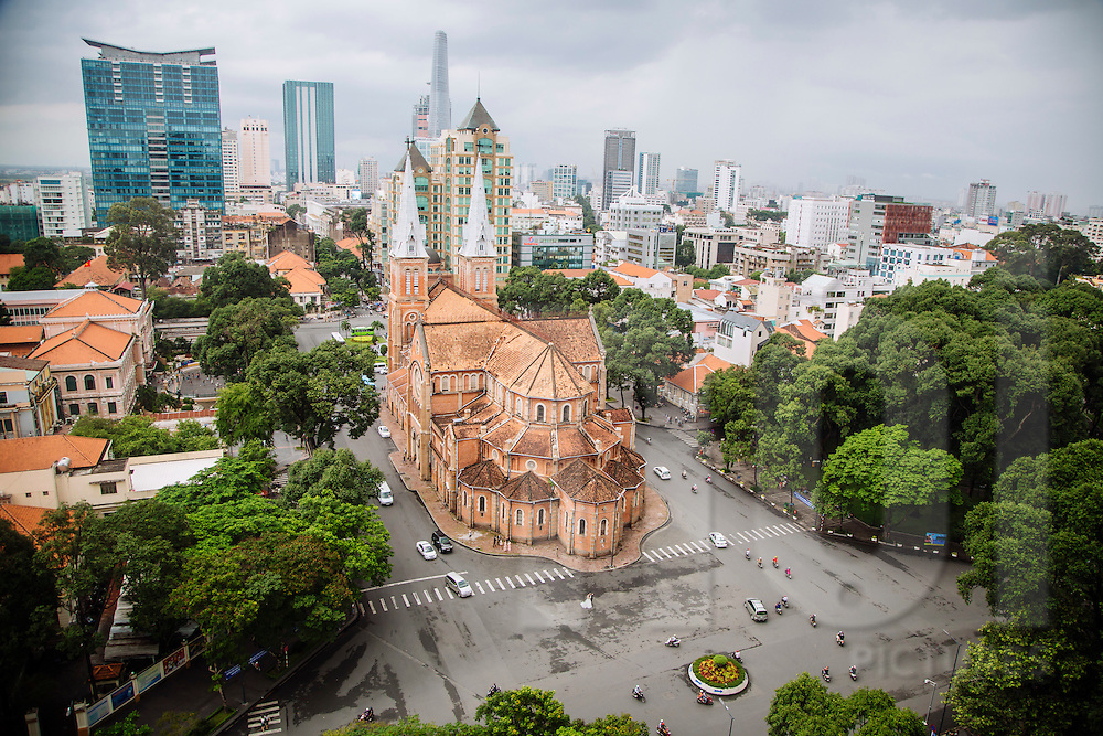 Above view of Saigon Notre Dame Basilica, Ho Chi Minh City, Vietnam, Southeast Asia