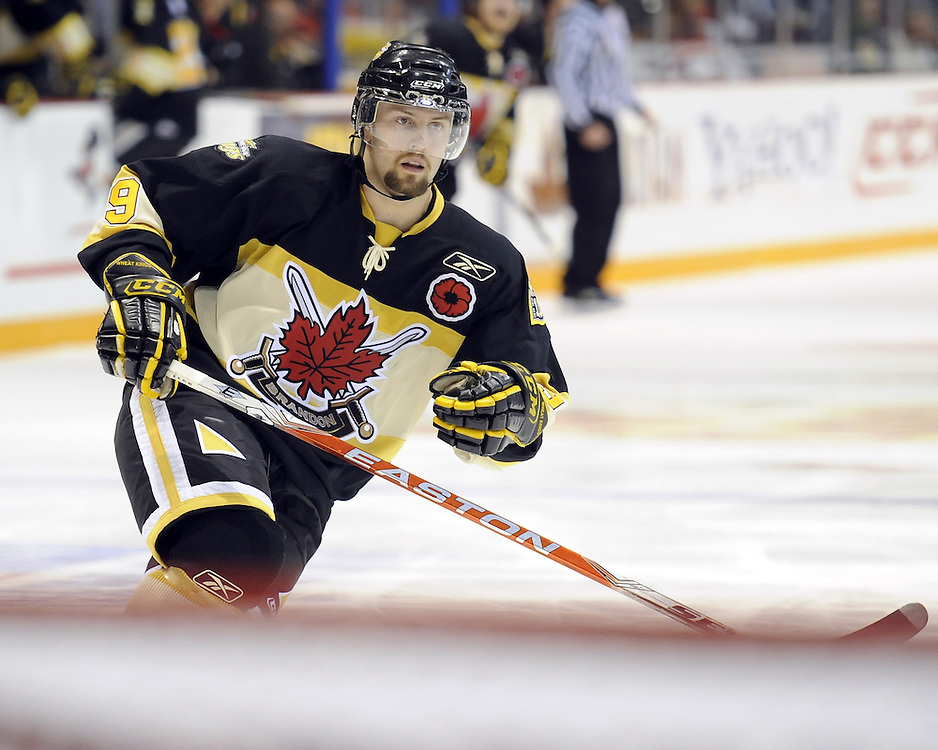 Brent Raedeke of the Brandon Wheat Kings in the opening game of the 2010 MasterCard Memorial Cup in Brandon, MB. Photo by Aaron Bell/CHL Images