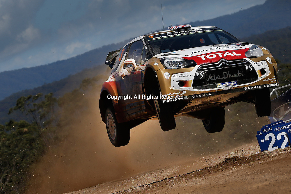 14.09.2014. Coffs Harbour, NSW, Australia.  Kris Meeke (IRL) / Paul Nagle (GB) - Citroen DS3 WRC 4th placed finish on stage
