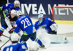 Jack Eichel of USA vs Ales Kranjc of Slovenia and Robert Kristan of Slovenia during Ice Hockey match between Slovenia and USA at Day 10 in Group B of 2015 IIHF World Championship, on May 10, 2015 in CEZ Arena, Ostrava, Czech Republic. Photo by Vid Ponikvar / Sportida