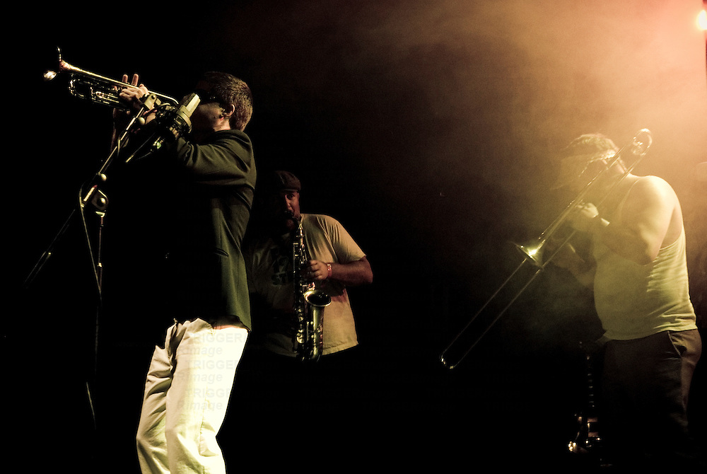 Musicians playing brass instruments