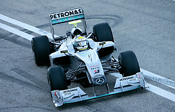 VALENCIA, SPAIN - Monday, February 1, 2010: Nico Rosberg of Mercesdes GP during testing at the Ricardo Tormo Circuit de la Comunitat Valenciana. (Pic by Juergen Tap/Hoch Zwei/Propaganda)