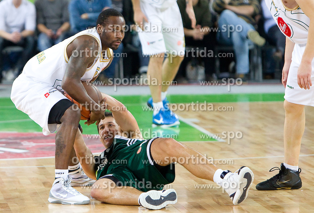 Marque Perry (5) of Olimpija vs Dimitris Diamantidis of Panathinaikos  during basketball match between KK Union Olimpija (SLO) and Panathinaikos (GRE) in Group D of Turkish Airlines Euroleague, on November 4, 2010 in Arena Stozice, Ljubljana, Slovenia. Union Olimpija defeated Panathinaikos 85-84. (Photo By Vid Ponikvar / Sportida.com)