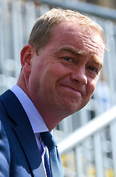 © Licensed to London News Pictures. 24/06/2016. London, UK. Leader of the Liberal Democrats, TIM FARRON  speaking to media in Westminster, London on the day that the UK voted to leave the EU in a referendum. Photo credit: Ben Cawthra/LNP