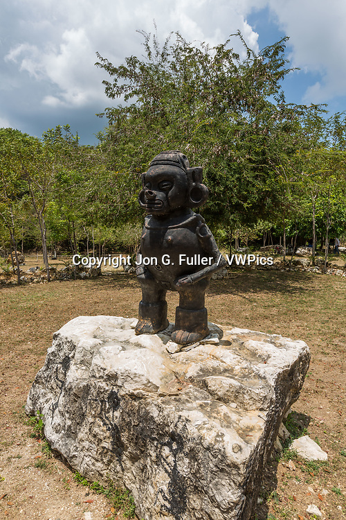 Statue of a Taino woman, as seen in Taino pottery, at the Pomier Caves Anthroplogical Reserve near San Cristobal in the Dominican Republic.