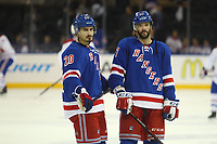 May 29 2014 New York Rangers Chris Kreider 20  and John Moore 17  Prior to The Start of Game 6 of The Eastern Conference Finals between The Montreal Canadiens and The New York Rangers AT Madison Square Garden in New York NY NHL Ice hockey men USA May 29 Eastern Conference Final Canadiens AT Rangers Game 6 <br />