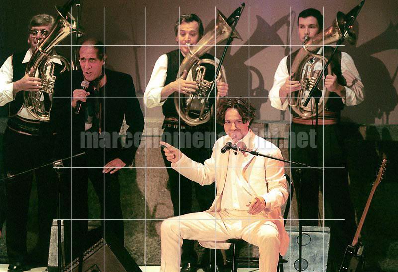 """Milan, October 28, 1999. Bosnian musician Goran Bregović performs at the TV program """"Francamente me ne infischio"""" / Milano, 28 ottobre 1999. Il musicista Goran Bregović durante il programma televisivo """"Francamente me ne infischio"""" - © Marcello Mencarini"""