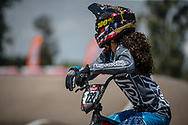 #122 (CARR Amanda) THA during practice at round 1 of the 2018 UCI BMX Supercross World Cup in Santiago del Estero, Argentina.