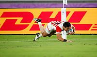Rugby Union - 2019 Rugby World Cup - Pool A: Japan vs. Scotland<br /> <br /> Keita Inagaki of Japan scores his try at International Stadium Yokohama, Kanagawa Prefecture, Yokohama City.<br /> <br /> COLORSPORT/LYNNE CAMERON